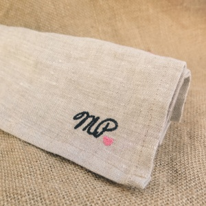 Pure Linen Embroidered Tea Towel