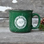 MPH speckled mug green white