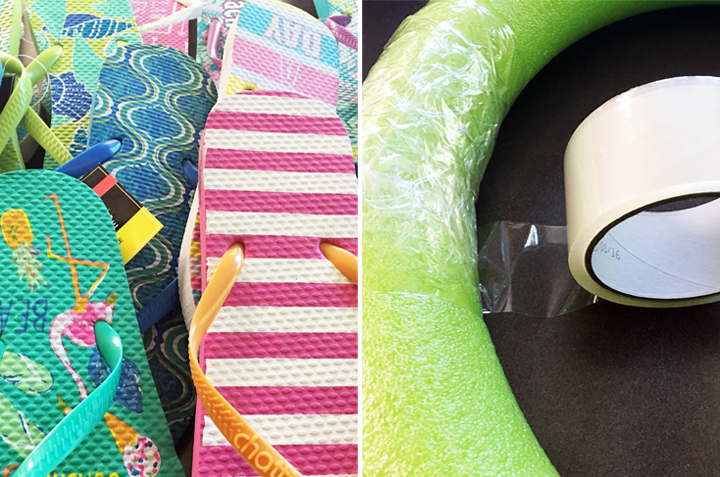 summer, flip flop, craft, diy, wreath, pool, monica potter