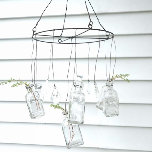 Wire Hanging Vases with Crystals