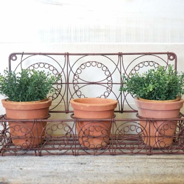 Wall Planter with Terra Cotta Pots
